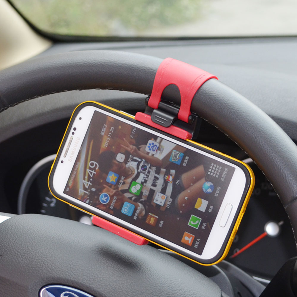 Universal Car Steering Wheel Hand-free Mobile Phone Holder for iPhone 4S 5 5S 5C for Galaxy S4 S5 GPS MP4 PDA Phone Holder(China (Mainland))