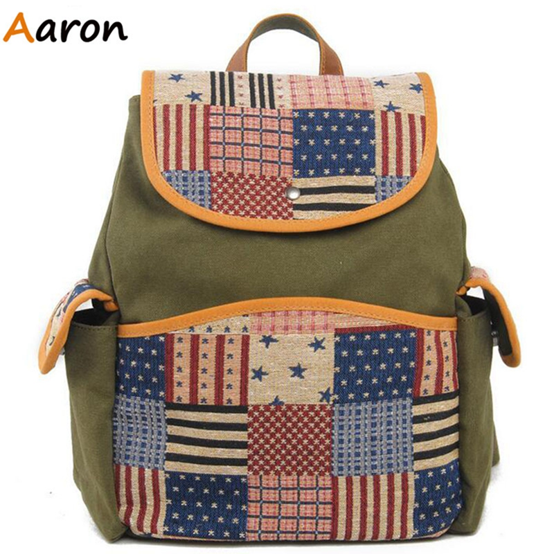 Aaron - European And American Vintage Students Travel Backpacks Men Women Casual Backpack Sport Bags Panelled Canvas Laptop Bags