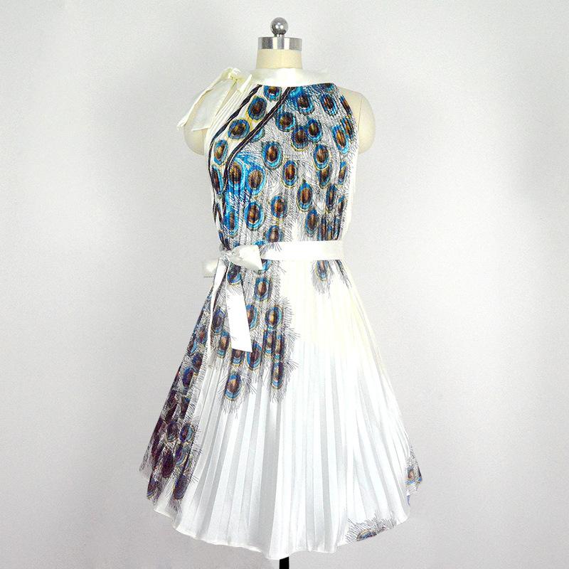 Pleated Peacock Dress vestido de festa Floral Print Ties Waisted Art Deco 50s 60s Vintage A-line Midi Dresses Party Club Wear(China (Mainland))