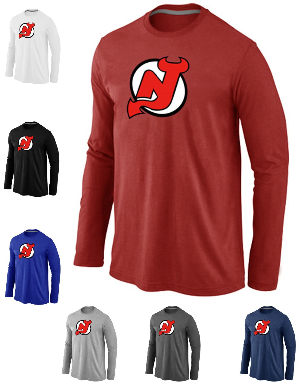 Cheap New Jersey Devils Hockey Long Sleeve T Shirts Big&Tall Logo Fashion Devils Hockey Tees Shirt Cotton O-Neck T-shirt(China (Mainland))