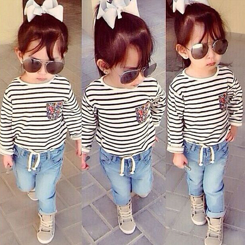 Spring Girls Clothing Set Striped Long-sleeved Shirt + Jeans 2pcs Children Clothing set 1-7 Years Kids Baby Girls Clothes Set(China (Mainland))