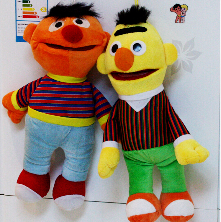 2pcs/lot Cartoon Plush Toys Sesame Street Ernie And Bert Creative Doll Stuffed Toy Super Quality Free Shipping(China (Mainland))