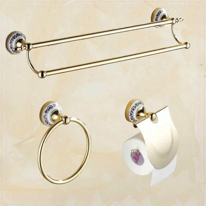 Golden Porcelain Bathroom Suit Double Towel Barstowel Ring Bar Towel Holder Toilet Paper Holder