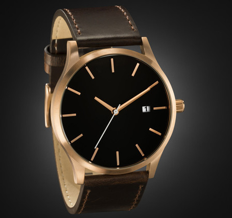 Rose Gold Minimal Design Watch No Brand Name Japan Quartz Movement MVMT Style Genuine Leather Strap(China (Mainland))