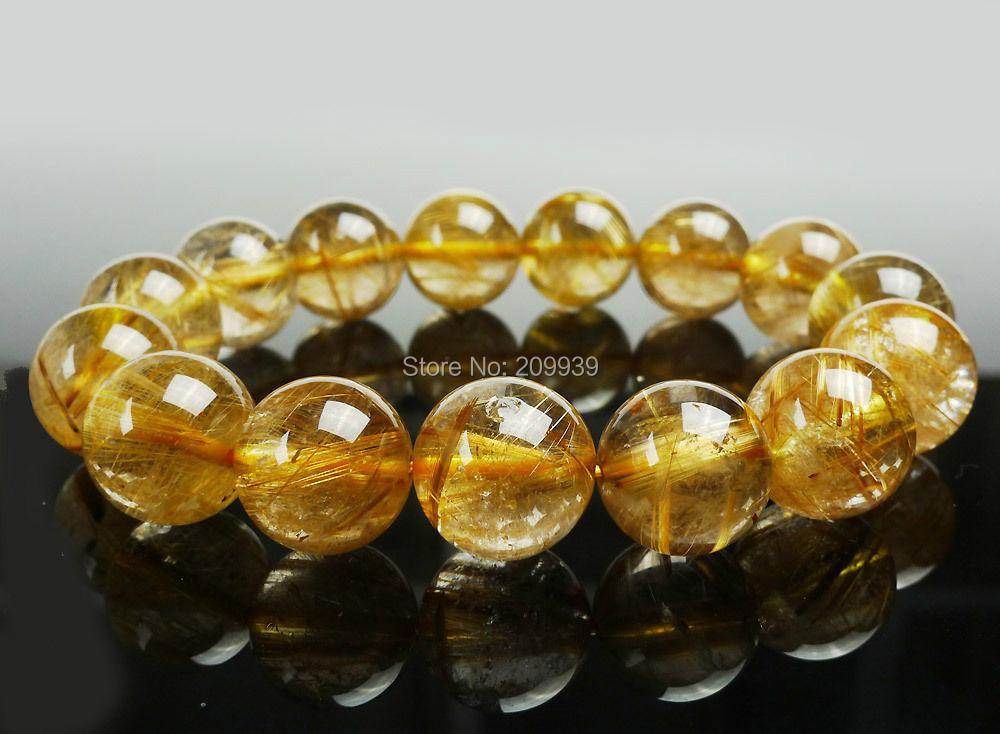 huij 00872 Top Quality Natural Brazil Golden Titanium Rutile Quartz Crystal Bracelet 14 mm(China (Mainland))