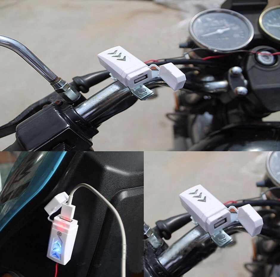 2015 New Motorcycle Scooter 12V USB Charger Lighter Power Port Outlet Socket White Free Shipping SUB1(China (Mainland))