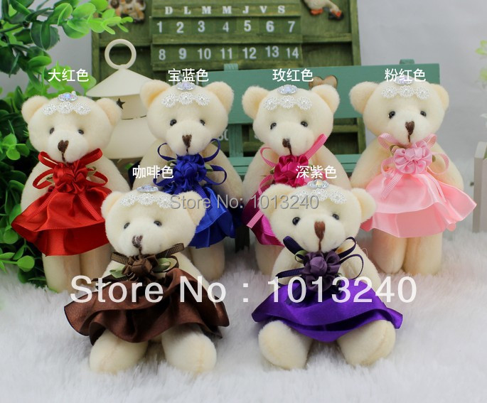 Free shipping 24pcs/lot mixed color teddy bear bouquet material plush toys,high quality bouquet bear toys(China (Mainland))