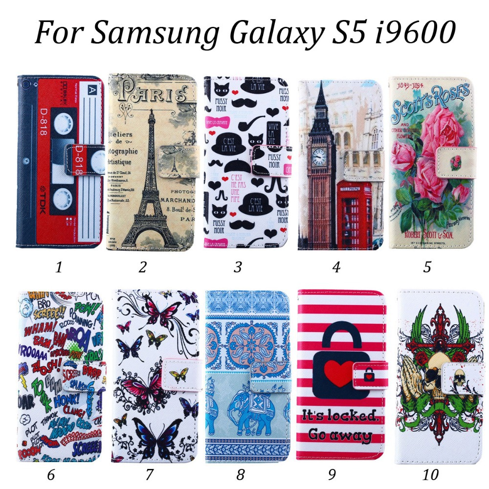 100pcs/lot Building Locked Scott's Roses 2 Card Slots Leather Wallet Case with Stand For Samsung Galaxy S5 i9600,Free Shipping(Hong Kong)