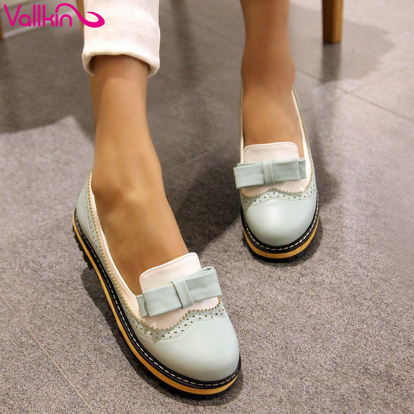 Vallkin 2016 New Women Shoe Fashion Sweet Style Round Toe Low Heel Casual Women Pumps Wedding