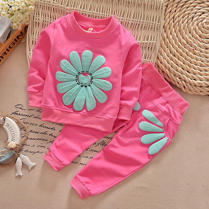 2016 Spring Autumn 1-4Y Children Girl Clothing Set Baby Girls Sports Sunflower Suit Toddler Babies Clothes Set Outfits Tracksuit(China (Mainland))