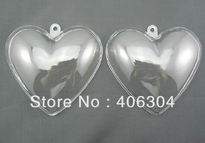 Free shipping,6.5cm transparent clear hanging heart candy box ball ,clear plastic christmas ornaments, DIY item(China (Mainland))