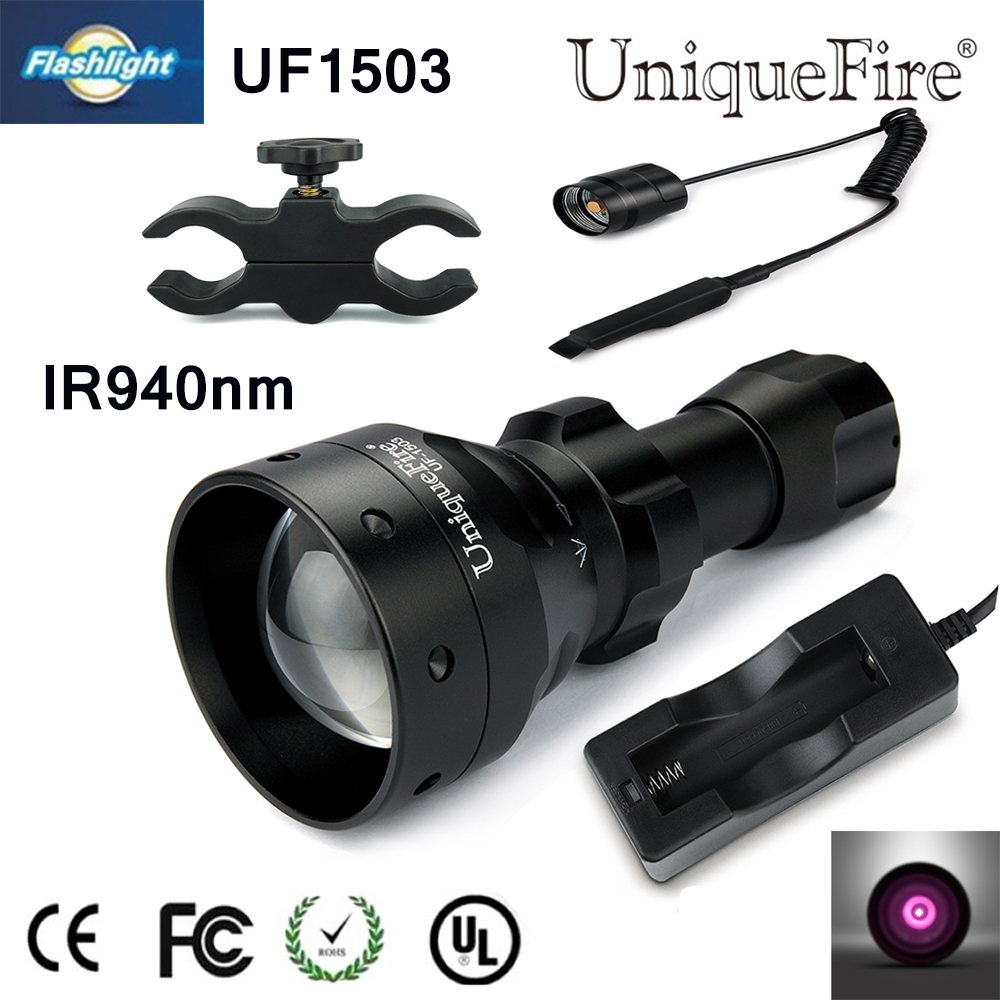 Waterproof Uniquefire Infrared Night Vision Flashlight UF1503 IR 940NM LED Zoomable Flashlight+Charger+Tactical Remote+Gun mount<br><br>Aliexpress