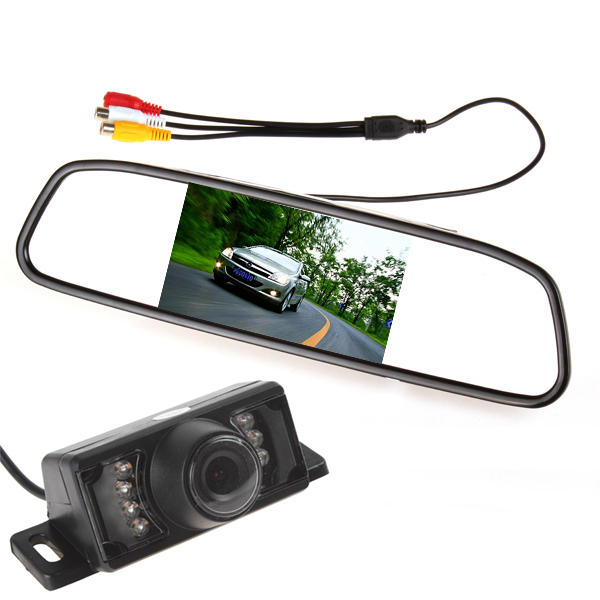 Car Parking Kit 4.3 inch TFT LCD Display Monitor Rear View Mirror + 7 IR Night Vision RearView Reverse Camera - Long March Trade Co., Ltd. store