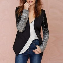 New Women Jacket Coat 2015 Spring Autumn Work Blazers Suit Long Sleeve Bling Silver Black Sequins Elegant Ladies Blazer feminino
