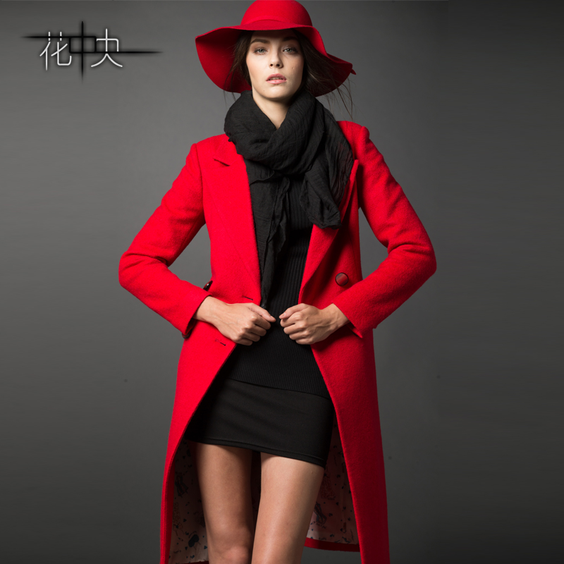 autumn winter red wool overcoat long design woolen women coat coats outerwear - Life is Perfect store