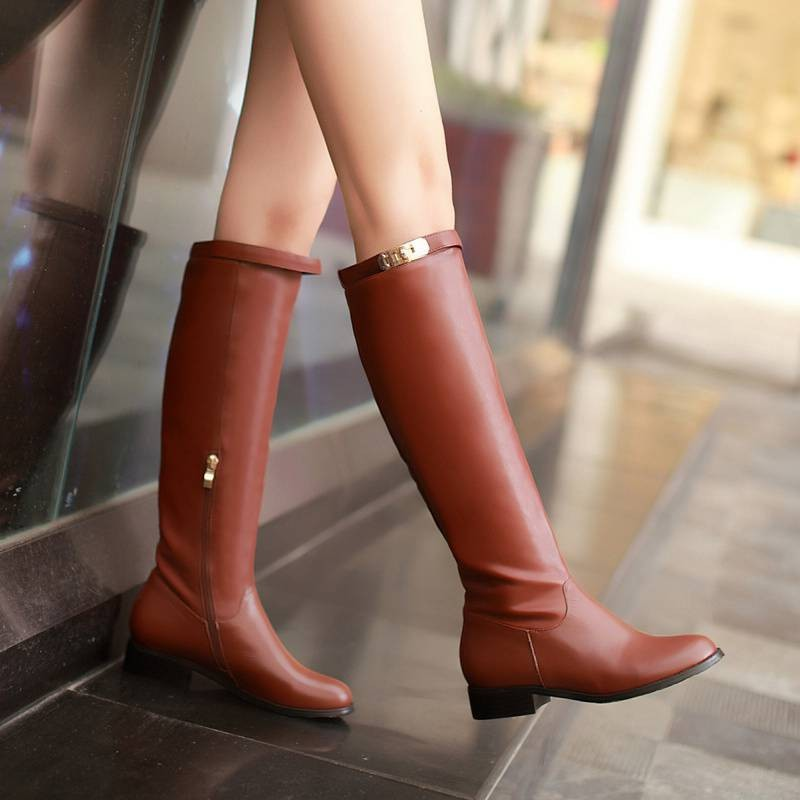 Big Size34-43 2016 New Women Boots Autumn Knee High Boots Buckle Female Leather Boots Winter Women's Snow Boots SBT2549