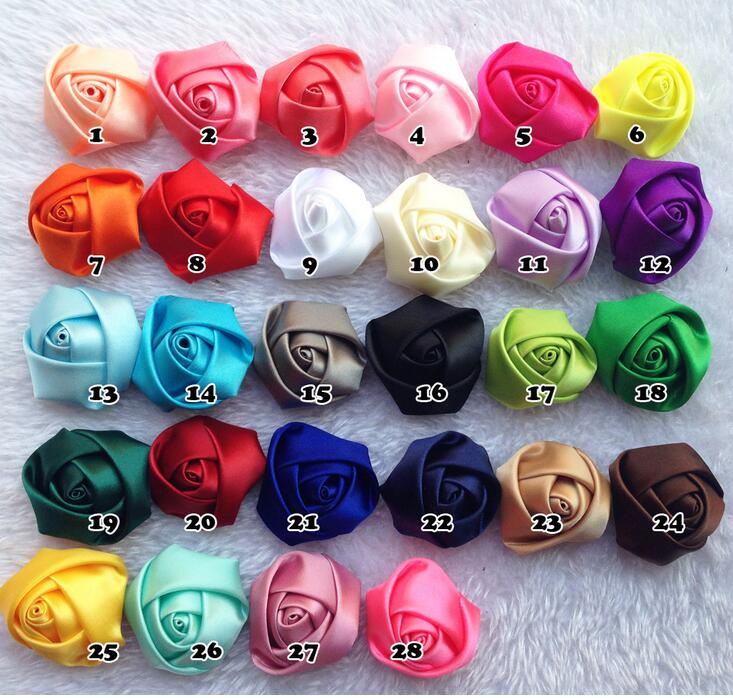 100pcs/lot Children DIY Hairbands Satin Rolled Ribbon Rose Flowers rosettes Kids hair wear accessories(China (Mainland))