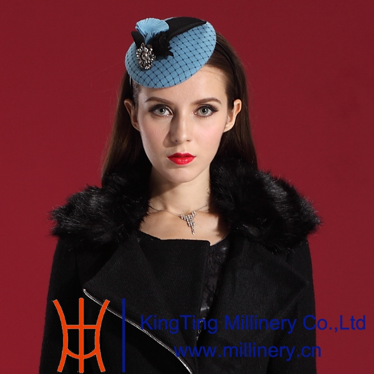 Free Shipping Fashion Elegant Women Wool Fascinator Hat Hair Modern Blue Ladies' Hair Accessories with Special Party Fascinator(China (Mainland))