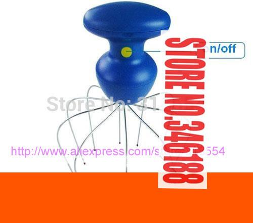 100pcs/lot # Blue Motorized Trembling Vibrating Scalp Massager for Head Joints Muscles Massage Free Shipping(China (Mainland))