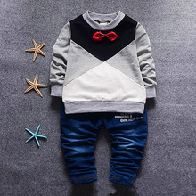 new baby boy clothing set 2016 spring autumn gentleman tie cotton long sleeve t shirt+jeans denim pants casual kid sport suits(China (Mainland))