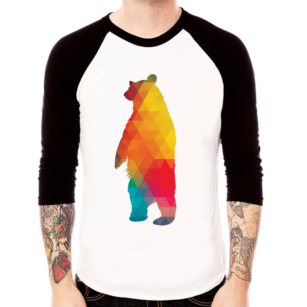 Bear art abstract design New Men's Plain BaseBall Graphic Long Sleeve Raglan T-shirts Wholesale(China (Mainland))