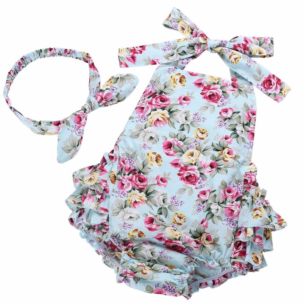 2016 New Cotton Summer Ruffled Floral Baby Girl Clothes Headband Set, Sleeveless Toddler Girl Romper Photography Props #7E2041(China (Mainland))