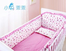 Promotion! 6pcs Pink Kids bedding sets baby crib bedclothes baby bedding baby crib sheets (bumpers+sheet+pillow cover)(China (Mainland))