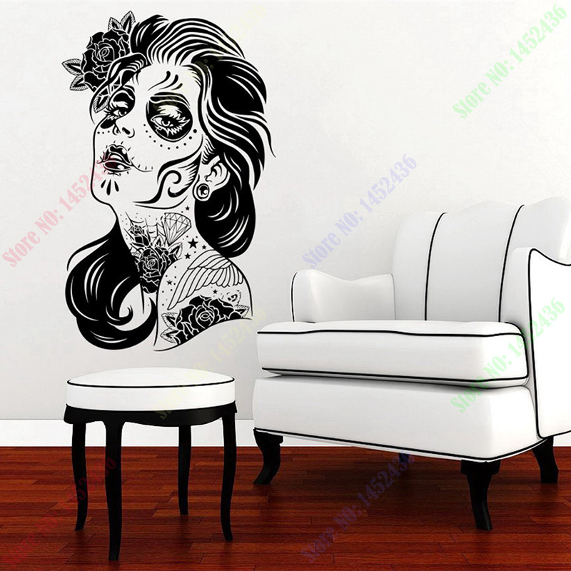 Http Www Aliexpress Com Item Happy Halloween Skull Girl Face Hair Tattoo Salon Zombie Fashion Vinyl Carving Wall Decal Sticker For 32516026456 Html
