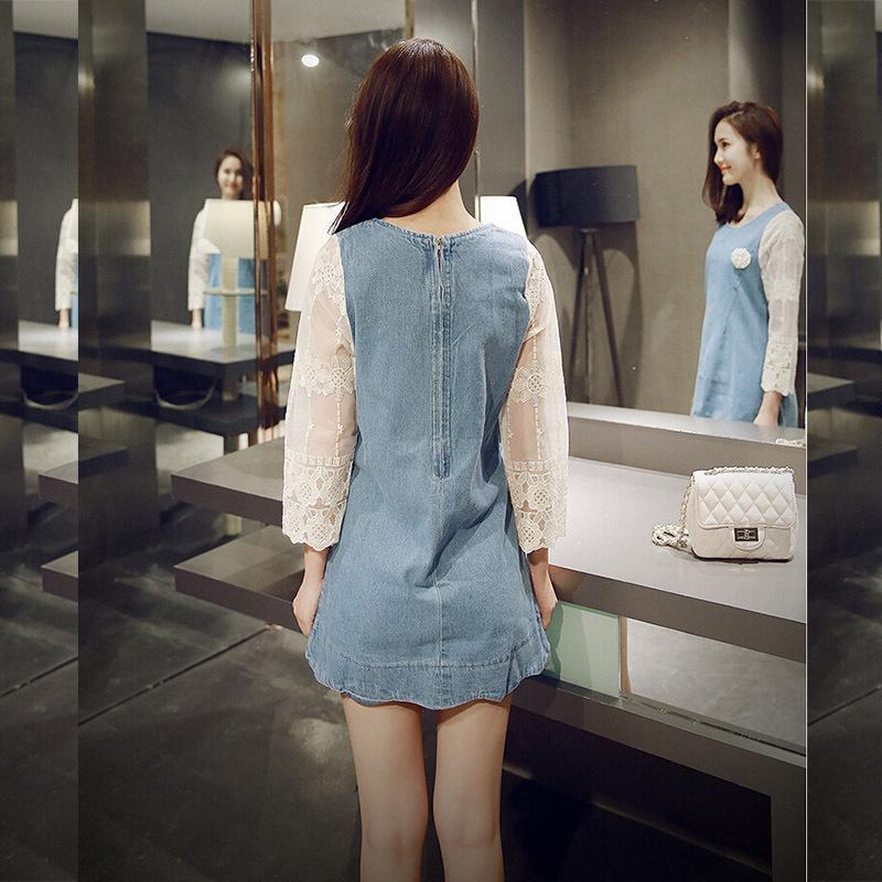 Plus size denim mini dress