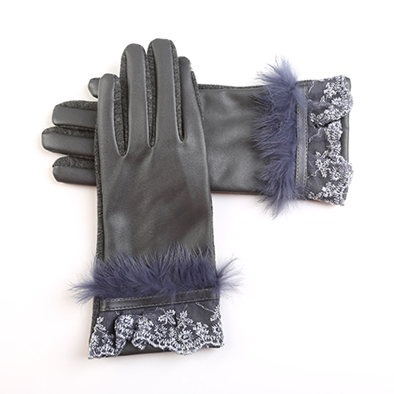 2016 Rabbit Fur Lace Gloves Women Wintertime Wrist Multi Color Genuine Leather Women Keep Warm Wrist Gloves for female(China (Mainland))