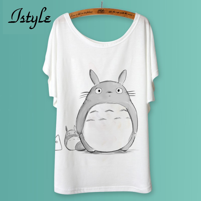 Totoro Print Women T Shirts Fashion Cartoon Animal Panda Lion Cat Printed Batwing Sleeve T-Shirt Tops tshirt Plus Size(China (Mainland))
