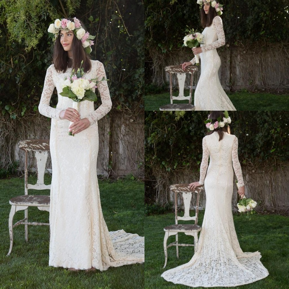 Bohemian custom made modest long sleeves sheath beach for Cheap sheath wedding dresses