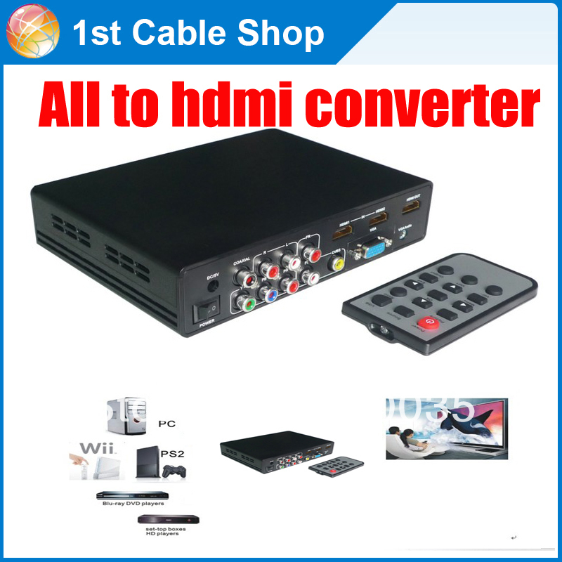 Free shipping 1PCS CVBS/ YPbPr /VGA to HDMI converter box with remote control&USB media function in retail package(China (Mainland))