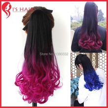HOT SELL!Ombre Ponytail  Colorful Hair Drawstring Ponytail Hair Clip in Hair Extensions Gradient wave  Ponytail Extensions