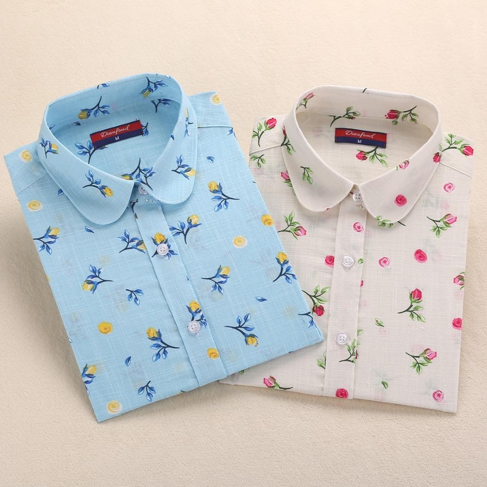 Dioufond Floral Women Shirts Blouses Cotton Linen Tops Ladies Long Sleeve Blusa Feminina Plus Size Elegant Women Summer Clothing(China (Mainland))