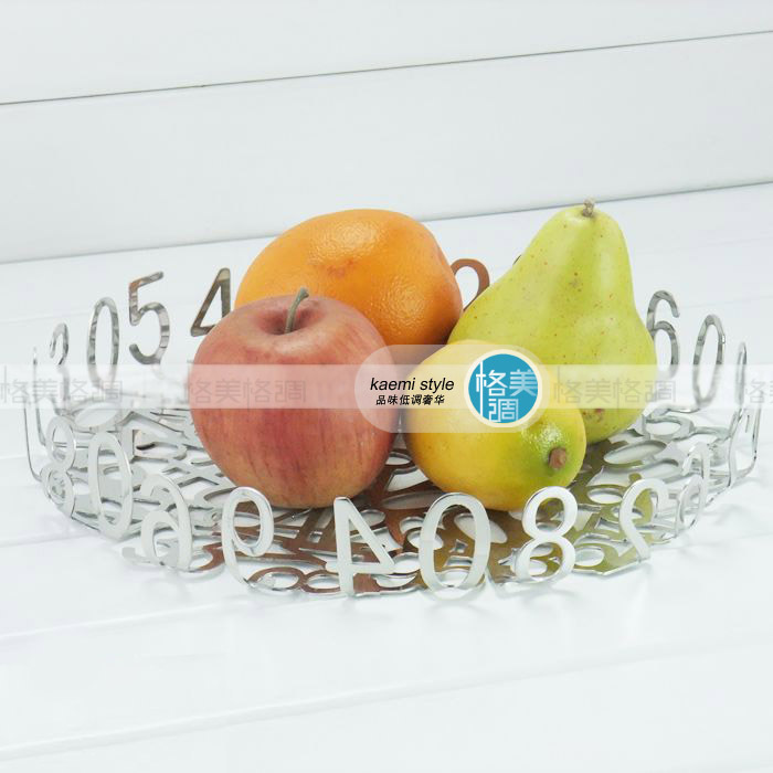 Digital style fruit plate stainless steel fruit plate candy tray fashion fruit plate home dish(China (Mainland))