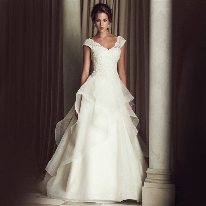 Jeanne Love Cap Sleeves A Line Vestido De Noiva Luxurious Robe De Mariage Bridal Dress Wedding Dresses 2016 Casamento YN3301(China (Mainland))