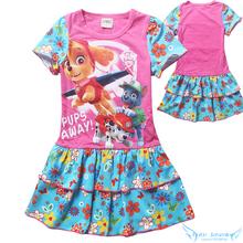 Paw Dog Puppy Patrol Girls Flowers Dress 2016 Summer New Next* Cotton Princess Dress Kids Cartoon TUTU Dress Children Clothes