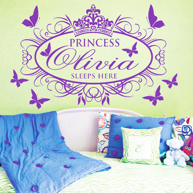 Printed Any Name 3D Butterfly Girls Princess Wall Stickers For Kid Room Bedroom Decoration Pink(China (Mainland))