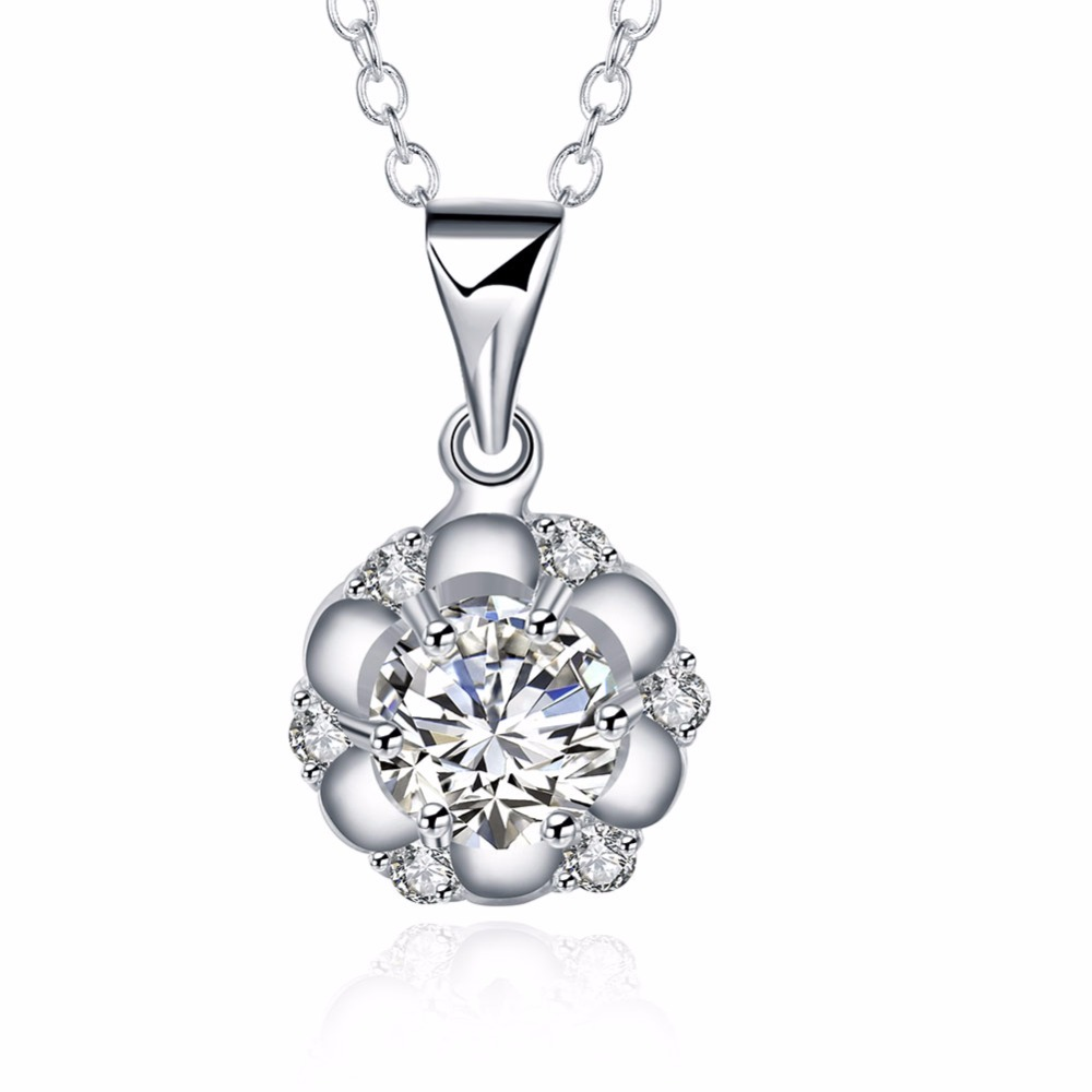 Fashion Jewelry Simple Round Rose Petal Zircon Silver Plate Necklace for Women(China (Mainland))