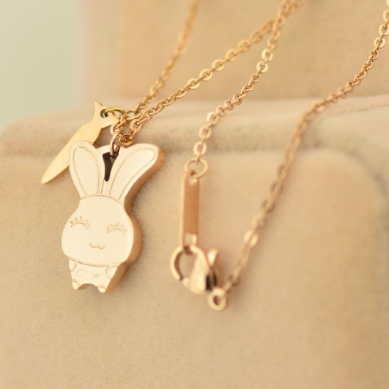 New arrival rabbit bunny animal necklace 18k rose gold wedding necklaces Wholesale Jewelry Supplier Stainless Steel N4614(China (Mainland))