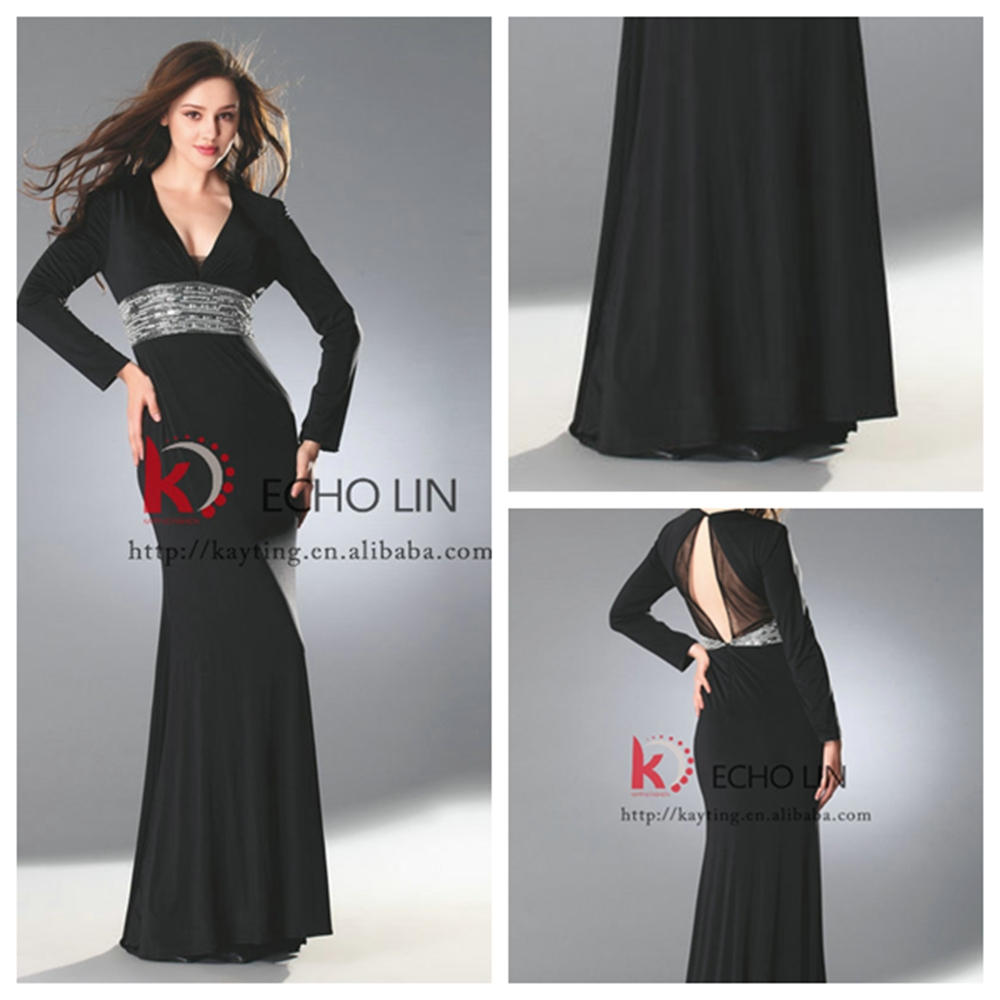Vintage long sleeve Muslim evening dress formal party gowns beads crystals maxi - Guangzhou Kindness Clothing Co., Ltd. store
