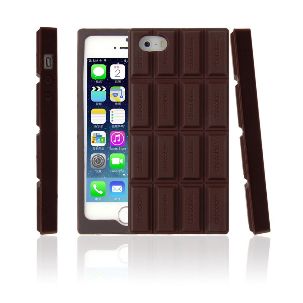 3D Chocolate Bar Look Soft Silicone Case Cover Skin For iPhone 5 5S 2016 Hot Worldwide(China (Mainland))