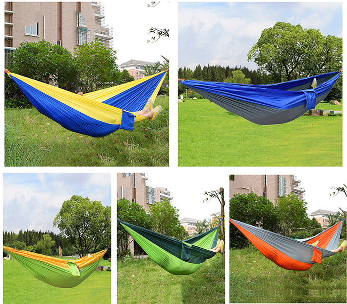 Assorted Color Hanging Sleeping Bed Parachute Nylon Fabric Outdoor Camping Hammocks Double Person Portable Hammock Swing Bed(China (Mainland))