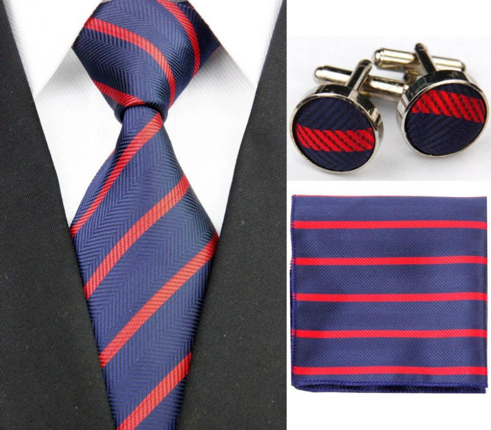 SNT0170 Men's Formal Suit Striped Ties Set Business Casual Wedding Necktie Gift Tie + Hanky + Cufflinks Free shipping(China (Mainland))