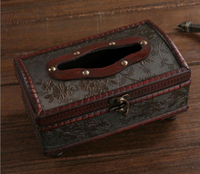 Free ship!Creative antique wooden tissue box / European-style hotel with a restaurant bar / retro leather  drawn box paper(China (Mainland))