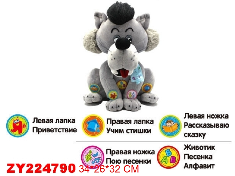 Funny educational Stuffed & Plush soft toys Electronic animals wolf with Russian sound talk story music for kids gifts(China (Mainland))