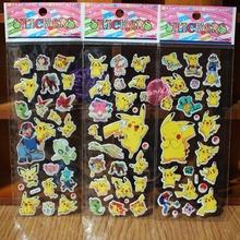 6 Sheets Anime Pokemon 3D Sticker Cute Pikachu Bubble Cartoon Toy Stickers Gift For Kids