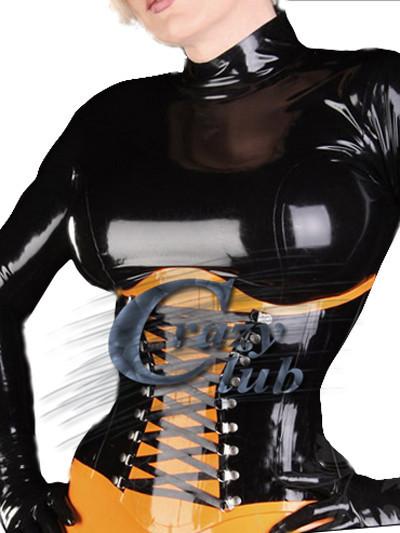 koop crazy club latex korsetten vrouwelijke kleding bicolor latex corset met. Black Bedroom Furniture Sets. Home Design Ideas