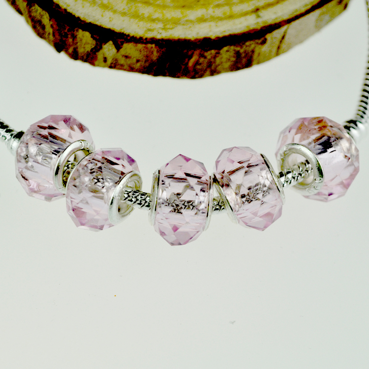 Promotion !! 500PCS/lot Pink  Big Hole Beads Fit For European Bracelet Faceted European Glass Loose Beads